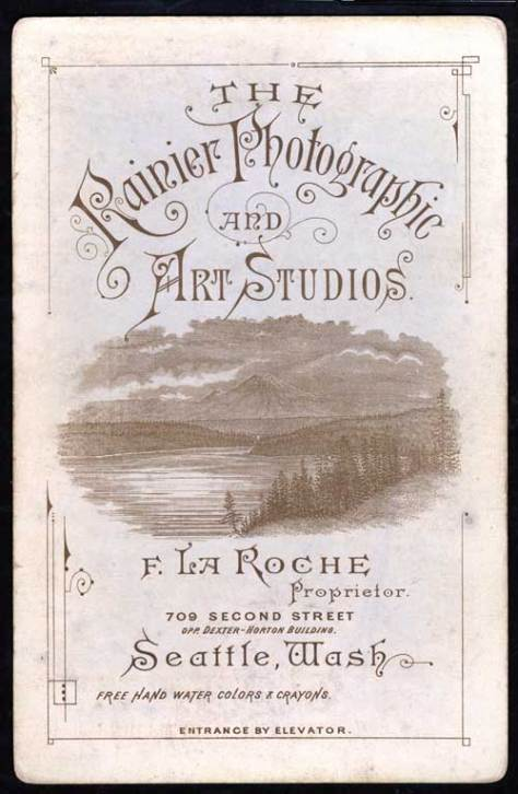"An example of the signature side of F. La Roche's typical commercial print has him promoting his studio as ""Rainier Photographic and Art Studios."""