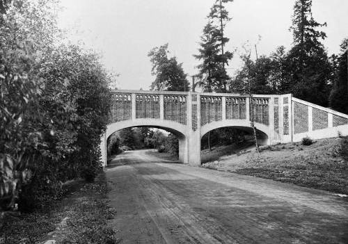 Walter Ross Baumes Willcox, the architect who planned this 1911 Arboretum aqueduct, went on to design another city landmark mades of reinforced concrete and ornamental bricks: the 1913 Queen Anne Boulevard retaining wall.  (Courtesy, Museum of History and Industry)