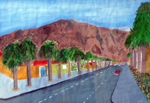 "A ""Street in Pomona"" I call it.  That looks like Mt. Baldy on the horizon.  This is probably the puresy example of enthused naive art in our halloweed selection."