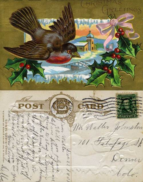 """Printed in America"" it is date 1908, a year after such split cards were first allowed in the U.S.A. The producer identifies this as one of its ""Xmas-Birds Series."""