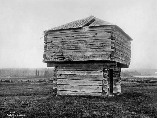 THEN: the Crockett Blockhouse on Whidbey Island, taken by Asahel Curtis in the early 1900s.