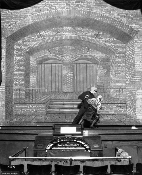 The LIberty Theatre stage with a scene of passion not identified and its famous organ too.