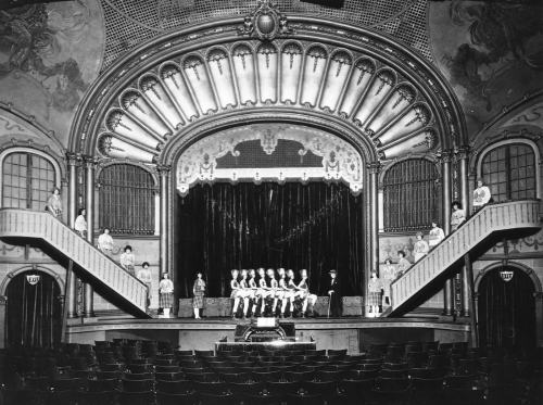 The Liberty's showy stage from the back of the theatre for another unidentified production.  We may remind readers who last last weeks insertion on the Swedish Baptist Church that like it the Liberty Theatre was designed by architect Henderson Ryan.