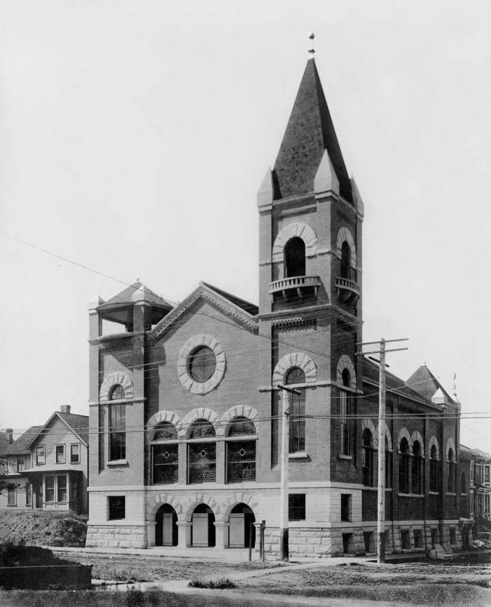 THEN: The Ballard Public Library in 1903-4, and here the Swedish Baptist Church at 9th and Pine, 1904-5, were architect Henderson Ryan's first large contracts after the 20 year old southerner first reached Seattle in 1898. Later he would also design both the Liberty and Neptune Theatres, the latter still projecting films in the University District. (Photo courtesy Lawton Gowey)