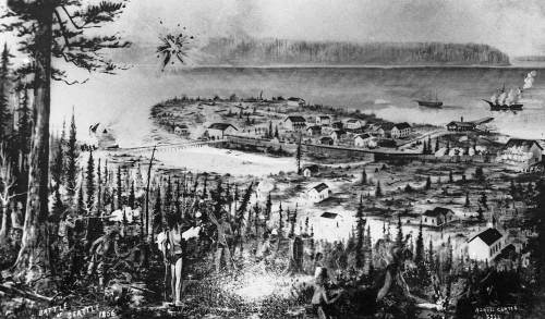 """This print comes with an excuse.  I have a better rendering but could not find it.  For decades, it seems, I thought this was the best surving copy of a painting - that may be lost - showing the battle of Seattle and  the peninsual aka """"Piner's Point"""" upon which most of the village was first built, during the Battle of Seattle.  Another version surfaced that does not also feature the glare of a light at the bottom-center."""
