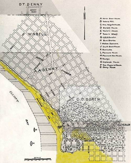 The Phelps map later and helpfully extended into a map of the city's street grid and an indication of the borders between the original settlers' claims.
