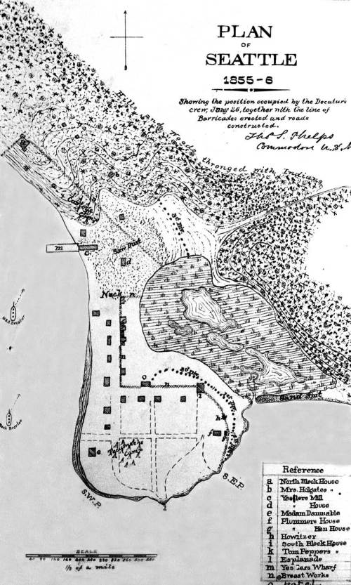 Phelps map of Seattle.  He by now famously misplaced the blockhouse one block too far north of its real location on a knoll at the waterfront foot of Cherry Street.