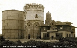"Another early 20th Century ""Real Photo Postcard"" by Oakes.  This on of both the Queen Anne standpipe (two of them) and Fire Station No. 8."