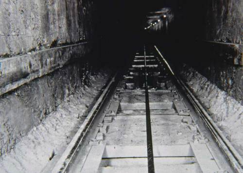 The tunnel and tracks of the Queen Anne Counterbalance.