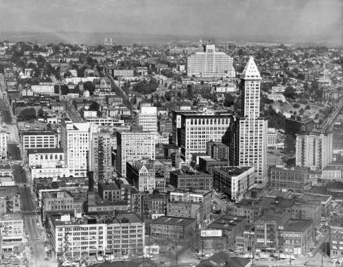 A 1950 aerial of Harborview behind the Smith Tower.