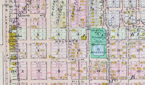 The neighborhood around 9th Ave. S. and Holgate Street, to the east of 9th, from the 1912 Baist Real Estate Map.