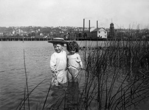 "These two tots in the toolies are the Brown kids.  The father was a plumber and played the clarinet in the popular Wagner's Band.  Western Mill is beyond and Capitol Hill on the horizon.  The Westlake Trestle, before the landfill hear, created this protect southwest corner of the lake, which on the evidence of the Brown negatives - several - was a popular bay for summer sports.  I used this image on the cover of my first ""now and then"" book.  It has been very very good to me.  (You can inspect/read it in this blogs library or bookstore attached with its own button.  And you can do the same with Vols. 2 & 3 and several more books."