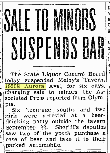 Three years after his passing Melby's popularity endures with his namesake tavern, which is busted for selling beer to minors.  Seattle Times Oct. 8, 1945