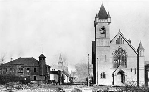 Looking east on Pine, ca. 1892, from near Second Avenue.