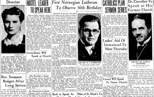 News of Norwegian Lutheran's 50th Anniversary printed on the religion page for the Nov. 26, 1938 Seattle Times.