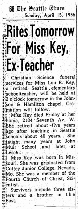 ST April 15, 1956 Rites for Miss Key, res 2104 7th ave. W.b