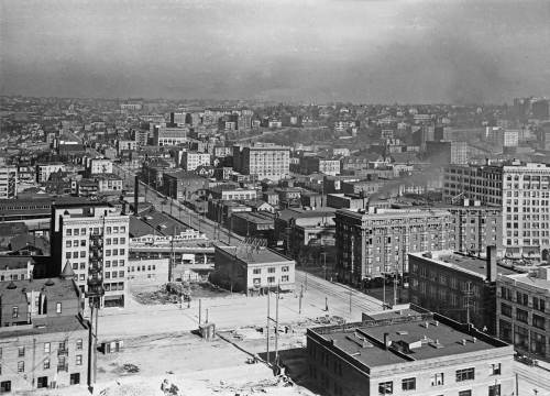 The same intersection of Pine and 4th - right-of-center - as that shown at street-level in the subject above this one.  This was photographed from an upper floor (or roof) of the New Washington Hotel at 2nd and Stewart.
