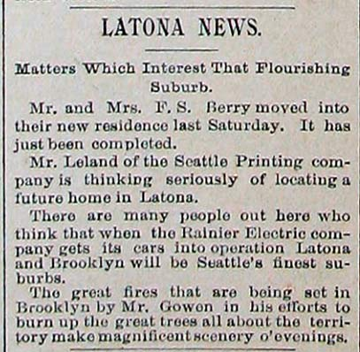 A clipping from the very new Latona-Brooklyn news - Dec. 1, 1890.