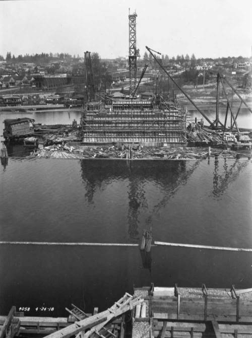 Construction of the University Bridge, recorded on March 21, 1918 from the south - Capitol Hill - side. (Courtesy Seattle Municipal Archive)