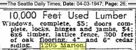 A Times clip for the address 1205 Marion from April 3, 1947 suggest that the old dorm (?) is being liquidated.