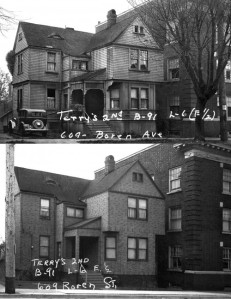 Two views from 1937 and 1941 show big changes to the home at 609Boren.  At the time asphalt siding was popular, a modern cosmetic. [Courtesy, Washington State Archive]