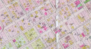 A detail from the 1912 Baist Map that shows the impassable intersection of University Street and 9th Ave. on the far left.  Blocks 116 and 117 show the footprints for Bachus and the two Dennys, and much else including the still surviving St. Paul Apartments at Summit and Seneca in the mutilated block 127 of the real estate map.