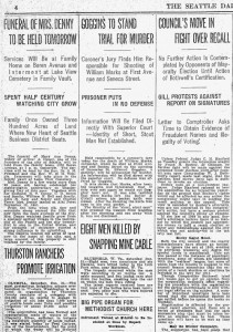 Funeral announcement for Mary Denny in the Dec.31, 1910 issue of The Seattle Times.