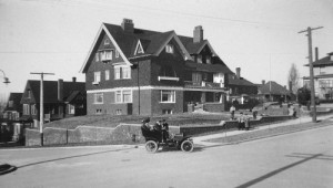 The line of residents of the big brick home at the northeast corner of Boren Ave. and University Street saw how quickly changes came to First Hill.  Built in 1904 for the Banker Manson Backus it became a boarding house during the Great Depression and was vacant when it was destroyed in 1956 to be ultimately replaced by the Panorama House.  (historical photo courtesy of Washington State Historical Society.)