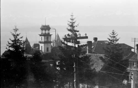 First hill's Coppins Water Tower and beyond it Central School taken from the highest point on the hill, Col.Haller's Castlemount - its central tower facing Minor just north of James.  This is from the 1890s.