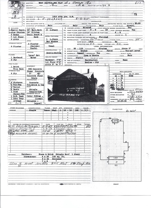 1910 47th Assessor's record, back and front (Courtesy Puget Sound Regional Archives at Bellevue College)