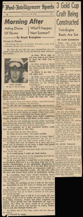 A classic interview by P-I's ancient sports editor, Royal Brougham with Stan Sayres on Jan. 20, 1955, the year of more great expectations.