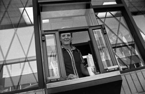 Golden Arches on Rainier ca. 1985 with cheerful attendant and watchful figure in the window.  (I ordered a cherry pie)