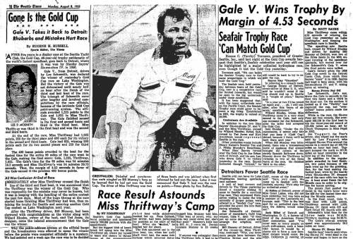 The Gale wins the Gold Cup in 1955 by a few seconds and confounds Muncey, the Thriftway driver.