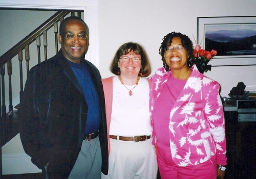 Former Seattle Mayor Norm Rice, for whom Greg worked as an aide, and  his wife, Constance Rice, Seattle Community College District vice  chancellor, flank Sharon Nickels in the Nickels living room Photo courtesy of Sharon and Greg Nickels