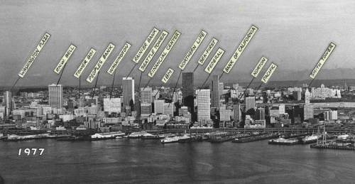 "Seattle Times veteran photograph Roy Scully took this aerial of the skyline in 1977 to show it additions since the SeaFirst Tower began making an impression.  Roy did a lot of the photography for Pacific Magazine in my early years of freelancing with ""now and then.""  Roy was known to us all as a real mensch."