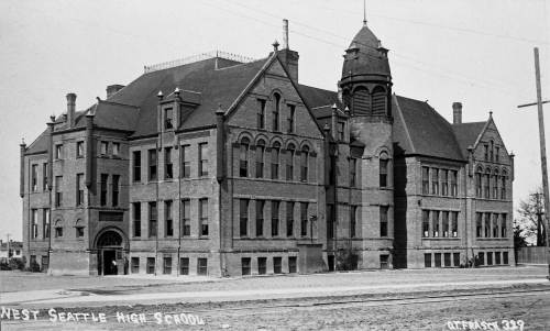 THEN: Built in 1893, West Seattle School kept teaching until ruined by the region's 1949 earthquake. (Courtesy Michael Maslan)