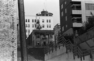 Here I peek at the Preston and the Westin Hotel too, from Western Ave.  I date this ca.1981 largely on the evidence of the Westin work-in-progress.  That is the larger northern tower near 5th and Virginia going up.  Now the  Preston seems vacant.