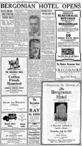 The Mayflower Hotel was first built fast and introduced as the Bergonian Hotel in 1927.  This nearly full-page age was clipped from The Seattle Times for July 15,1927.