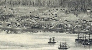 The same Belltown section of the waterfront as depicted by the artist of Seattle's 1878 Birdseye, its first.