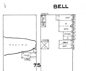 The 1884 Sanborn map - a detail showing the southwest corner of Bell and Front (First) and the Belltown Ravine too, although here its intrusion east of the waterfront is stopped at Western Avenue, when in 1883, at least, it still reach a short way east of First (Front) Avenue.