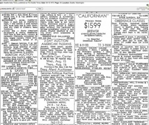 Include in this montage of classifieds from Aug. 10, 1973 is an announced public auction for everything in the Cameron Hotel.
