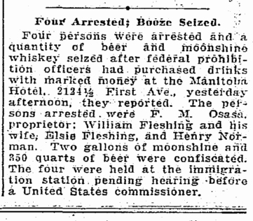 A Seattle Times clip on Moonshine over Manitoba during the year of Prexy Harding's pass-by.  The clip is dated Oct. 14, 1923.