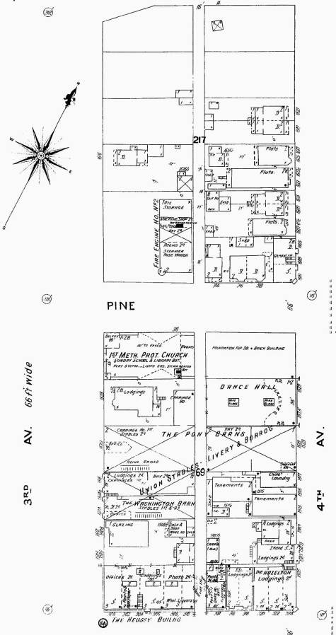 1905 Sanborn real estate map showing the footprints for structures including those then to be short-lived ones on the east side of Third Ave. between Pike and Pine Streets.