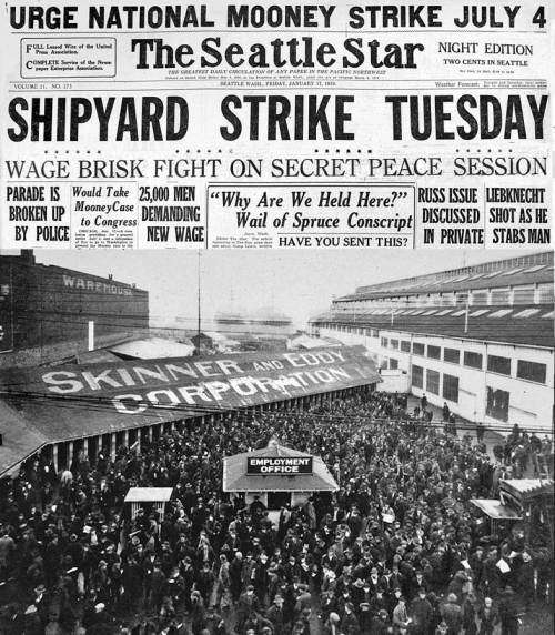 The Skinner and Eddie shipyard used the old Moran yard site during World War One to construct a volume of ships that Moran could only imagine.  Following the war came first the waterfront strike - seen here - which turned into Seattle's celebrate General Strike of 1919: a momentary thrill for local labor.