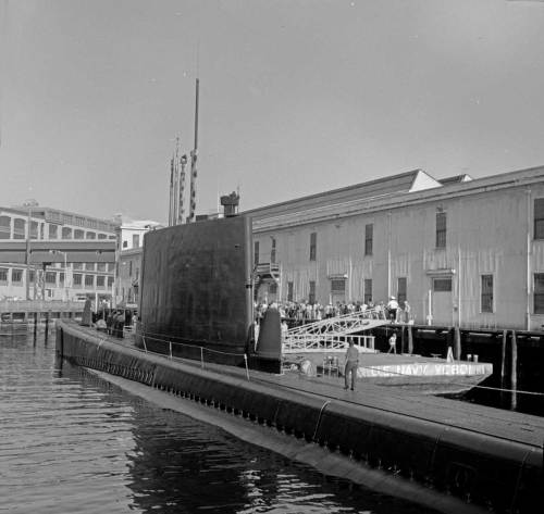 Robert Shaw's mid-1970 look over a unidentified sub to the American Can Co building at the north end of the Central Waterfront.