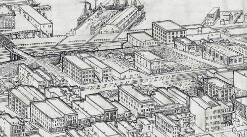 "A detail from a 1917 birdseye of the ""new retail district"" and also of part of Belltown, inclcudes, center-bottom, the southwest corner of First Ave. and Bell Street, showing the unique box-window on hanging at the second window above the sidewalk at the corner."