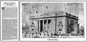 An early sketch of the Washington State Bldg, with a description of the architects, Bebb and Mendel, to the left of it.  This is pulled from the Seattle Times for Feb. 14, 1909.