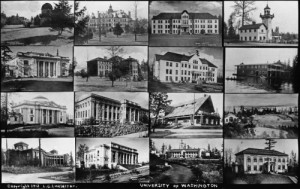 University District photographer Linkletter's montage of 16 AYP structure that we kept for use use after the expo.  Can you fine the Washington State Building?
