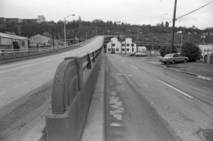 Our wetland block would be on the left side of this 1988 snap I made of the Beacon Ave. S. freeway overpass ten Holgate Street on the left.