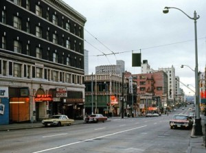 Still looking south on Pike thru 7th Ave. early on Sunday Sept. 21, 1969.  (Frank Shaw)